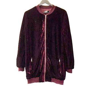 Missguided Oversize Long Maroon Velvet Jacket